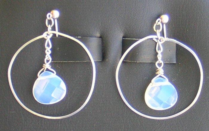 Moon stone and sterling silver hoop earrings