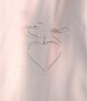 Handmade Sterling Silver Heart  Pendant and Earring Set with Pink Crystals