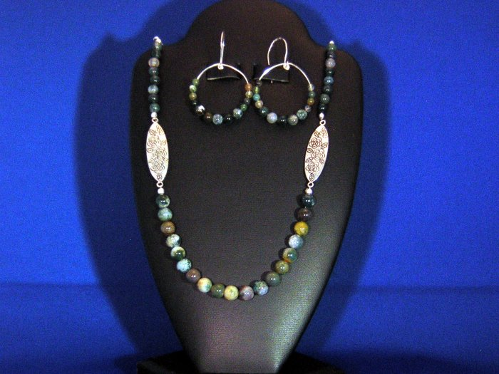 Precious Sterling Silver, Moss Agate, and Tibtan Silver Necklace, Earring Set