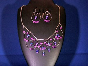 Sterling Silver loops with Pink & Purple Glass Bead Necklace Set
