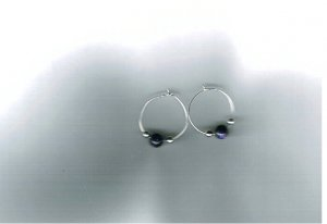 Sterling Silver Hoops with Navy Sun-Stone Beads