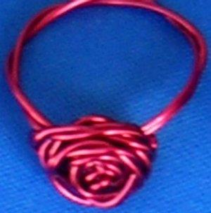 Adorable Handmade Rose Rings, Red