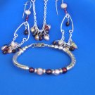 Sterling Silver Champagne  Pearls,and Garnet drop pendant, Earrings and Bracelet.