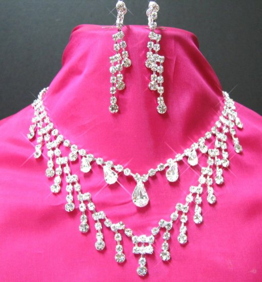 free shipping BRIDAL WEDDING RHINESTONE EARRINGS NECKLACE SET NB753
