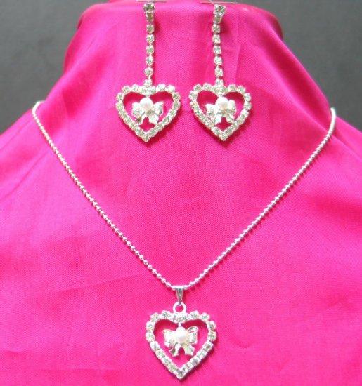 free shipping bridal wedding RHINESTONE & pearl earrings NECKLACE SET NB623