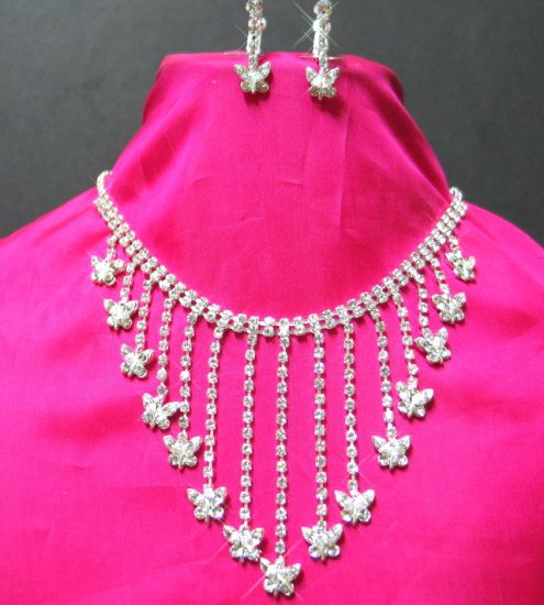 NB646 UNIQUE CRYSTAL BUTTERFLY RHINESTONE NECKLACE SET