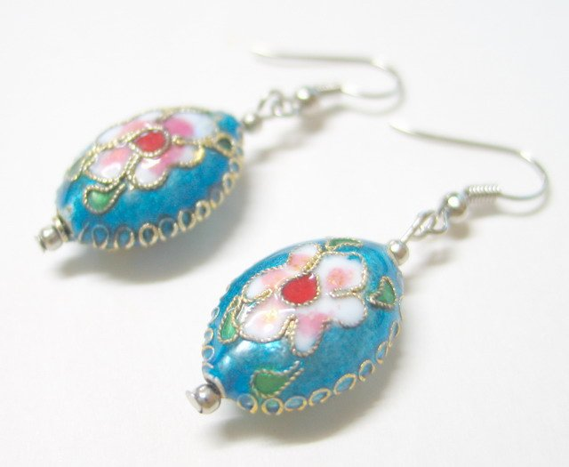 EA28 GORGEOUS BLUE CLOISONNE BEADS EARRINGS