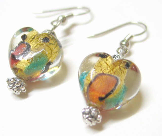 EA38 GORGEOUS FLORAL GLASS BEADS HOOK EARRINGS