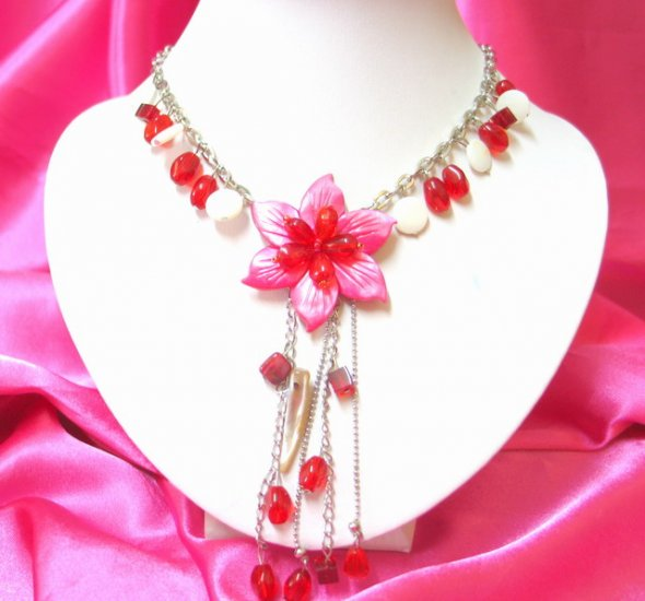 free shipping SHELL FLORAL DANGLE NECKLACE NB138