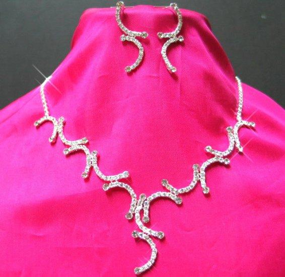 free shipping RHINESTONE bridal wedding earrings NECKLACE SET NB654