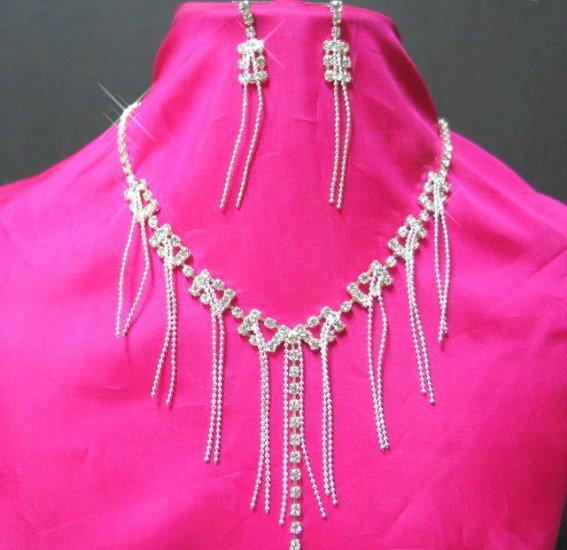 free shipping RHINESTONE bridal wedding earrings NECKLACE SET NB665