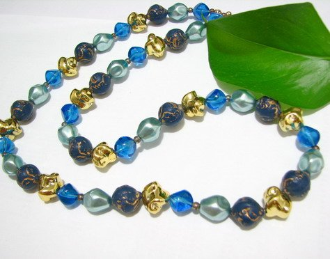 free shipping ~ NB1008 ELEGANT JEWELRY BLUE NECKLACE 24 inches