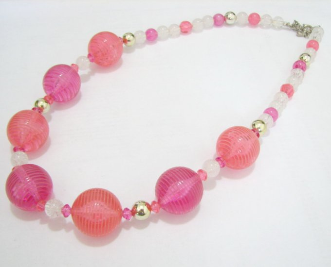free shipping ~ NB1011 FANCY PINK FASHION JEWELRY NECKLACE 20 in.