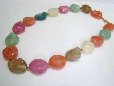 FREE SHIPPING ~ NB1015 FANCY CANDY LUCITE BEADS NECKLACE 19 in.