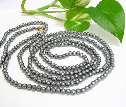 FREE SHIPPING ~ NB1028 ELEGANT GREY FAUX PEARL LONG NECKLACE 60 INCHES