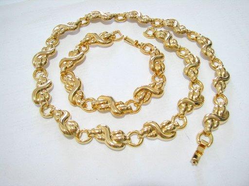 free shipping GOLDEN PLATED bracelet necklace SET NB2001