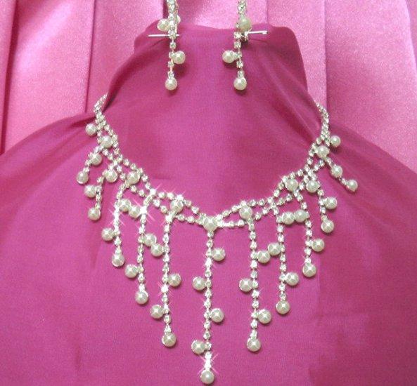 free shipping bridal wedding RHINESTONE & Pearl Earrings NECKLACE SET NA499