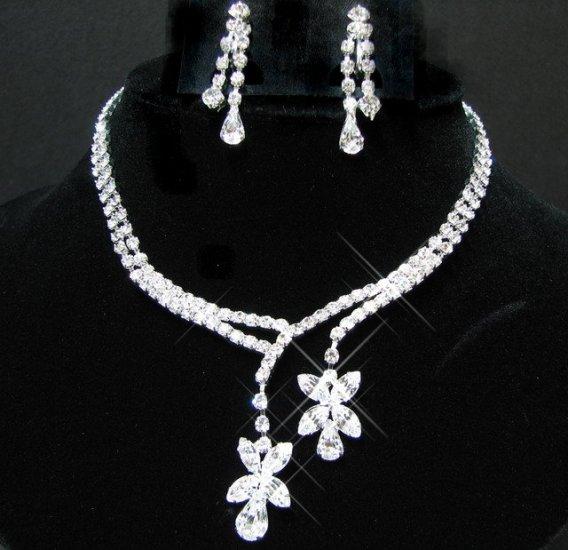 free shipping~ bridal wedding RHINESTONE earrings NECKLACE SET NB738