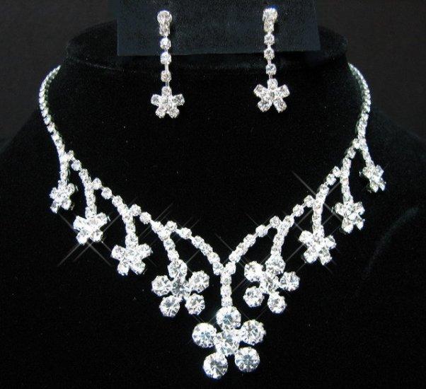 free shipping bridal wedding RHINESTONE earrings NECKLACE SET NB741