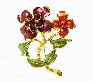 free shipping ~ P93 RED FLORAL GOLDEN PLATED RHINESTONE BROOCH