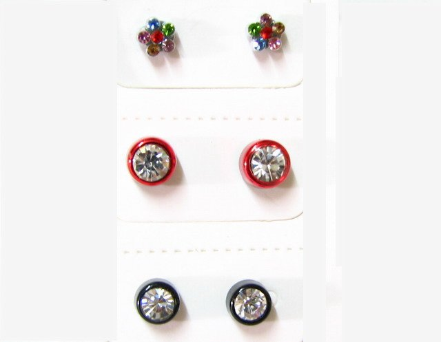 E221 MAGNETIC RHINESTONE EARRINGS 3 PAIRS *No pierced!