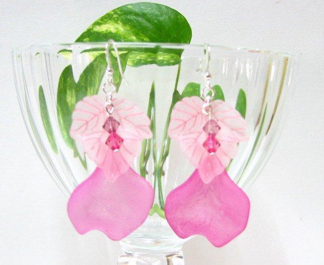 E1001 Impression of Flower-Malus Halliana Earrings 6cm
