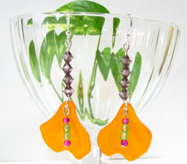 E1009 Impression of Flower-  Yellow Tulip Floral Earrings 7cm