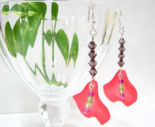 E1010 Impression of Flower- Anthurium Floral Earrings 6cm