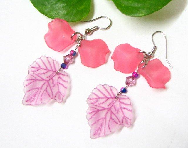E1011 Impression of Flower-Japanese Cherry Floral Earrings 6cm