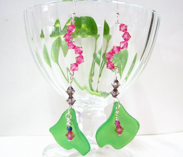 E1013 Impression of Flower-Malus Halliana Floral Earrings 8.5cm
