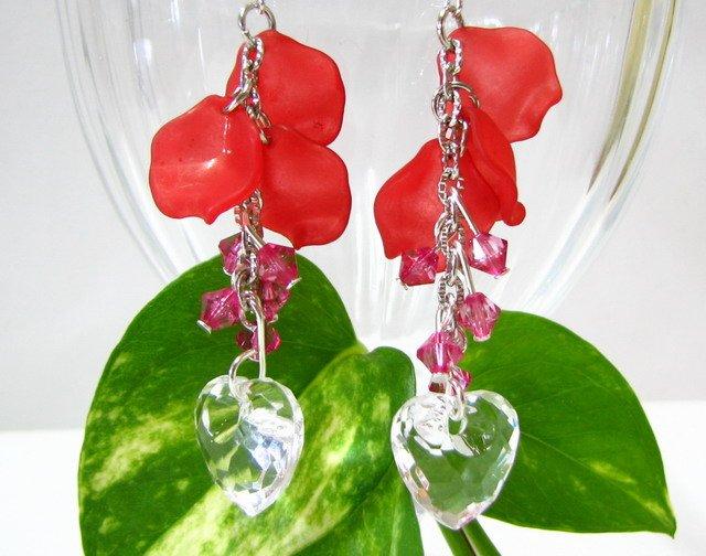 E1015 Impression of Flower-Love of Romance Earrings 7cm