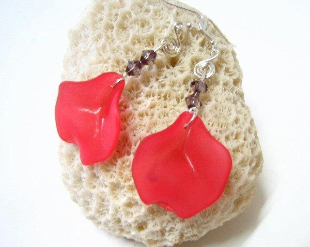E1016 Impression of Flower- Rose Earrings 6.5cm