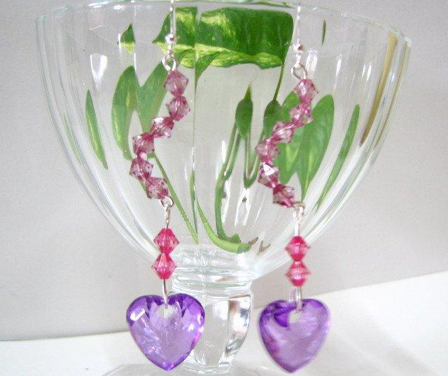 E1017 Romance Purple Dangle Heart Earrings 7cm