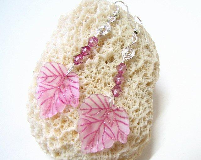 E1019 Purple Maple leaves Dangle Earrings 7cm