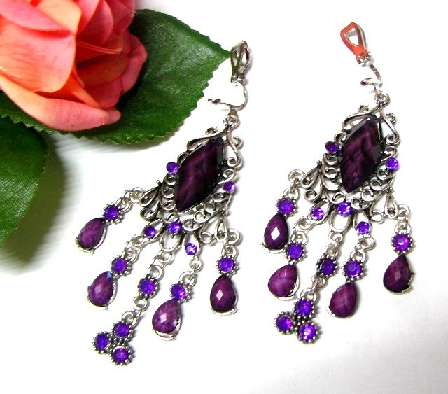 *FREE SHIPPING *E1684 Purple Rhinestone Clip On Earrings 7.5cm Charming!