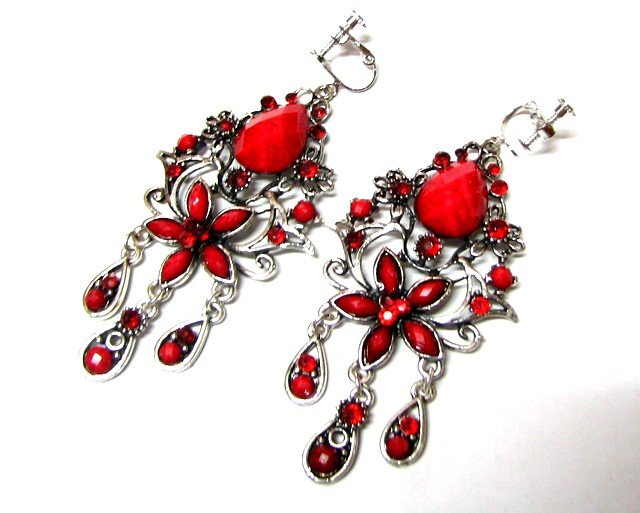 *FREE SHIPPING *E1680 Beautiful Red Floral Dangle Clip On Earrings 8cm