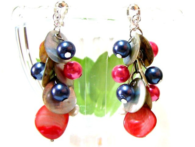 *FREE SHIPPING* E440 Glamorous Shell & Beads Clip On Earrings 6cm