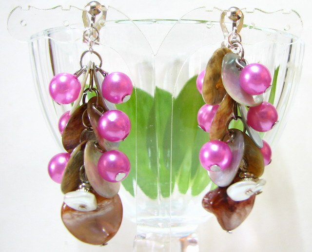 *FREE SHIPPING* E443 Charming Shell & Beads Clip On Earrings 6cm cOOl!!