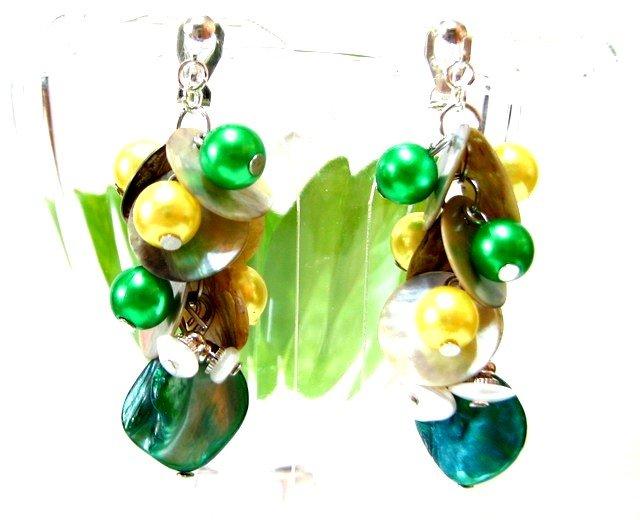 *FREE SHIPPING* E446 Shell Dangle Clip On Earrings 6cm Glamorous