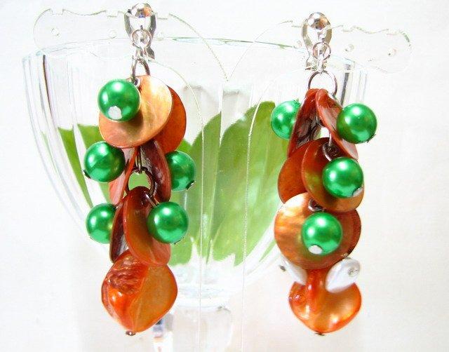 *FREE SHIPPING*E448 Orange & Green Shell Clip On Earrings 6cm cOOl!!