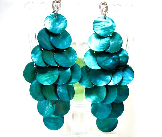 *FREE SHIPPING*E450 Charming Green Shell Clip On Earrings 8.5cm cOOl!