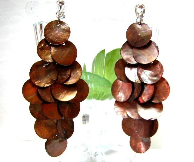 *FREE SHIPPING*E453 Light Brown Shell Dangle Clip On Earrings 8.5cm cOOl!
