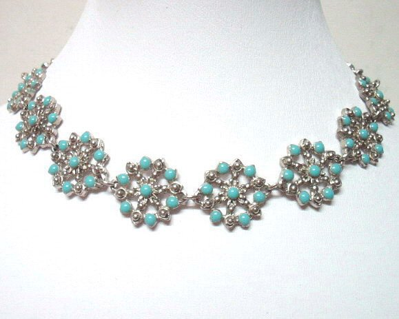 *FREE SHIPPING* NA962 ETHNIC TRIBAL FLORAL NECKLACE 37.5cm