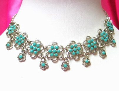 *FREE SHIPPING* NA941 ETHNIC TRIBAL FLORAL NECKLACE 37.5cm _cOOl!!_SPECIAL OFFER!!