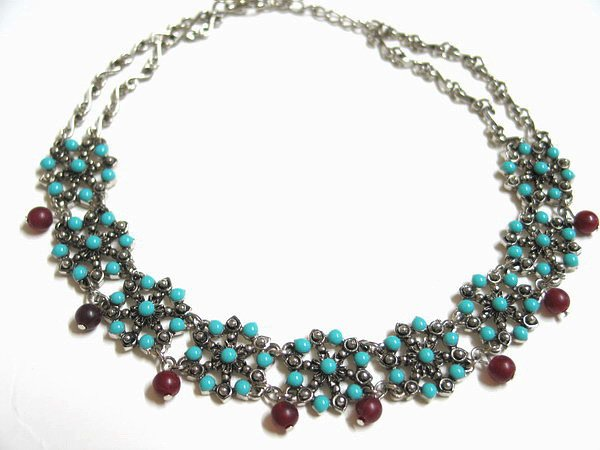 *FREE SHIPPING* NA572 ETHNIC TRIBAL FLORAL DANGLE NECKLACE 37.5cm _cOOl!!_SPECIAL OFFER!!