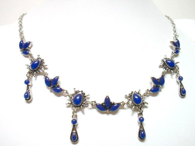 *FREE SHIPPING* NA583 ETHNIC TRIBAL BLUE DANGLE NECKLACE 55cm    _cOOl!!_SPECIAL OFFER!!