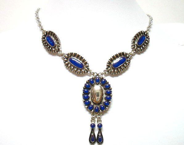 *FREE SHIPPING* NA584 ETHNIC TRIBAL BLUE DANGLE NECKLACE 55cm    _cOOl!!_SPECIAL OFFER!!