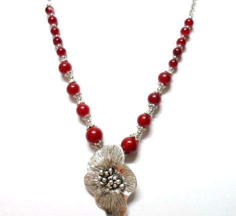 *FREE SHIPPING*NA945 ETHNIC TRIBAL SILVERLY FLORAL NECKLACE 48cm