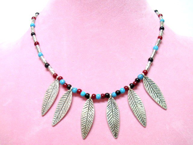 *FREE SHIPPING*NA674 ETHNIC TRIBAL DANGLE LEAF NECKLACE 45cm