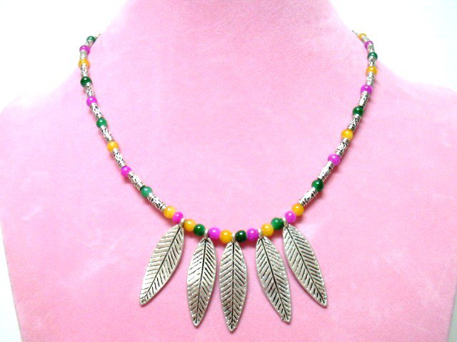 *FREE SHIPPING*NA667 SILVERLY LEAF RAINBOW TRIBAL NECKLACE 45CM